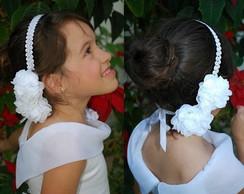 Headband/faixa renda guipir c/ 2 flores
