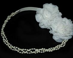 Tiara NOIVA off white p�rolas&flores