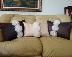Almofada retangular com rosas