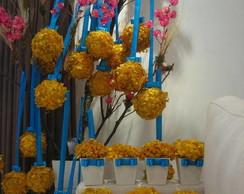Conjunto vasinho+bola Hort�ncia Amarela