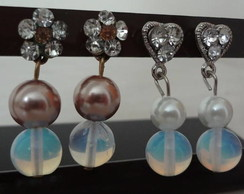 Brinco Prata, cristais e per�la
