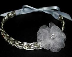 Headband PRATA strass &flor organza