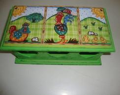 caixa de ch� galinha verde