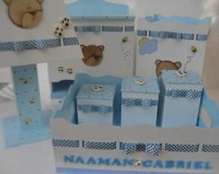 Kit Beb� Po� Azul e Marrom Ursinho