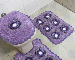 jogo de banheiro com felpudinho lilas