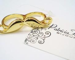 Anel Dois Dedos Bigode Dourado