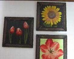 Trio de Quadros Flores