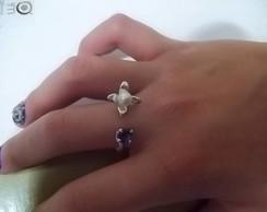anel em prata , perola biwa e iolita