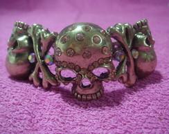 Bracelete caveira com strass