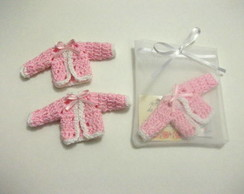 mini casaquinho Croch� rosa&branco