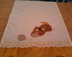 Pano de prato com aplica��o em patchwork