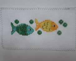 bordado em ponto cruz peixinhos
