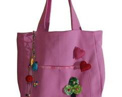 Bolsa em brim rosa