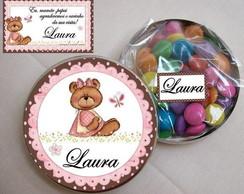 Latinha Marron e rosa Ursinha