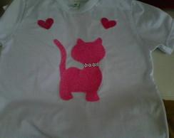 Camiseta Inf. Patch Aplique Gatinho