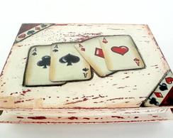 Caixa para baralho/cart�es em p�tina