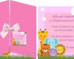 Convite Ch� De Fraldas Safari Rosa