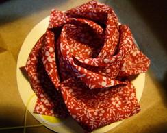 Rosa-Cart�o origami em tecido floral