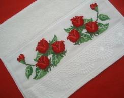 Toalha lavabo - rosas vermelhas