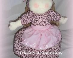 Boneca De 40cm  Rosa com marrom
