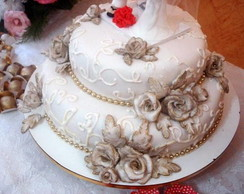 bolo de casamento c/ flores comest�veis.