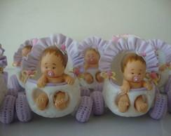 """""""carrinho de beb� lil�s com rosa"""""""