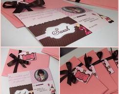 Convite Ursas marrom e rosa!