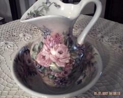 bacia c/ jarra em porcelana pintado
