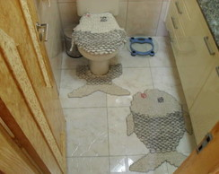 "Tapetes de barbante p/ banheiro ""peixe"""
