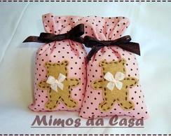 Lembrancinha Ursa sach� rosa e marrom