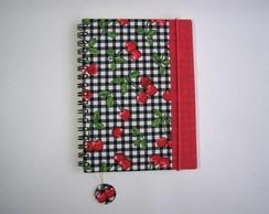 caderno cerejinhas + borda vermelho