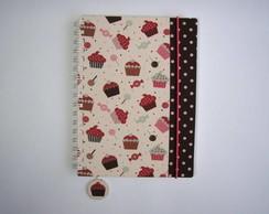 caderno cupcake + borda marrom poas