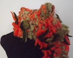 Cachecol florcitas laranja