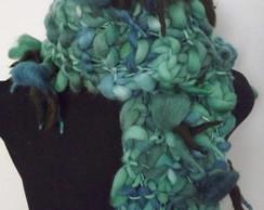 Cachecol florcitas verde