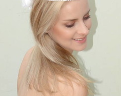 Headband Mini p�rolas com Flor