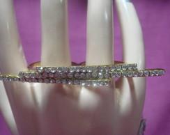 Lindo anel duplo dourado strass