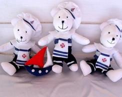 Kit  3 Ursos G Marinheiros e Barquinho