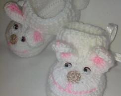 Pantufinha em Croch� Baby Coelhinha