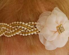 Faixa/headband p�rolas&dourado c/ flor