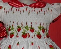 Vestido Moranguinho bordado matizado