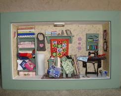 Quadro em miniatura oficina de patchwork