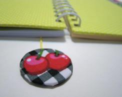 caderno verde fluo + borda cerejinhas