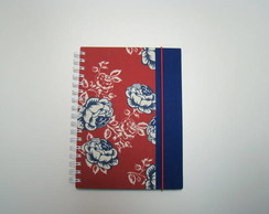 caderno floral vermelho + borda azul