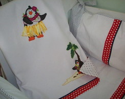 """Manta em piquet """"Pinguins havaianos"""""""