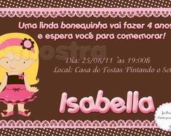 Convite boneca marrom e rosa