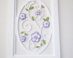 quadro de flores em tecido recortadas