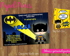 Kit Convite + Tag Batman - Ref 076