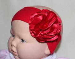 Faixa de meia vermelha flor G