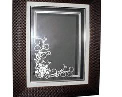 Espelho com Floral Jateado