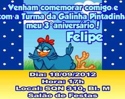 Galinha Pintadinha Convite Anivers�rio